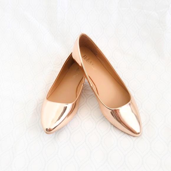c643a5f0039b Bella Marie Metallic Rose Gold Ballet Flats